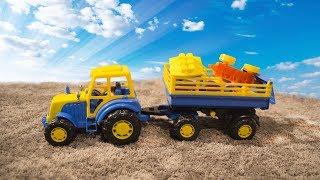 Развивающий мультик для малышей. Собираем паровозик с синим трактором.