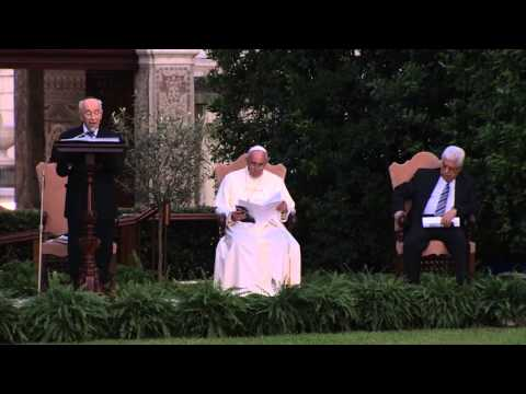 Pope Francis, President Peres and President Abbas' joint call for peace at a ceremony in the Vatican