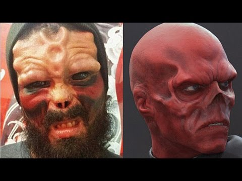 Man Cuts Off Nose & Tattoos Eyeballs To Look Like Red Skull