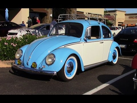 Classic Type 1 Volkswagen Beetle. Baby Blue and White Two Tone