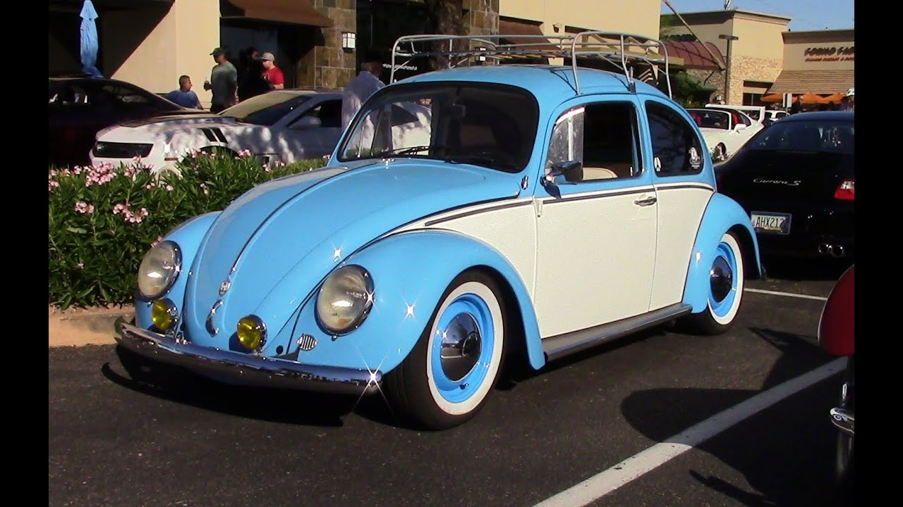 Classic Type 1 Volkswagen Beetle. Baby Blue and White Two Tone - YouTube