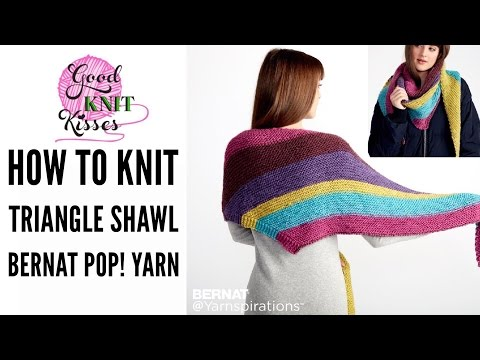 Knit Along the Knit Triangle Shawl Pattern by Yarnspirations with Bernat Pop! from Walmart
