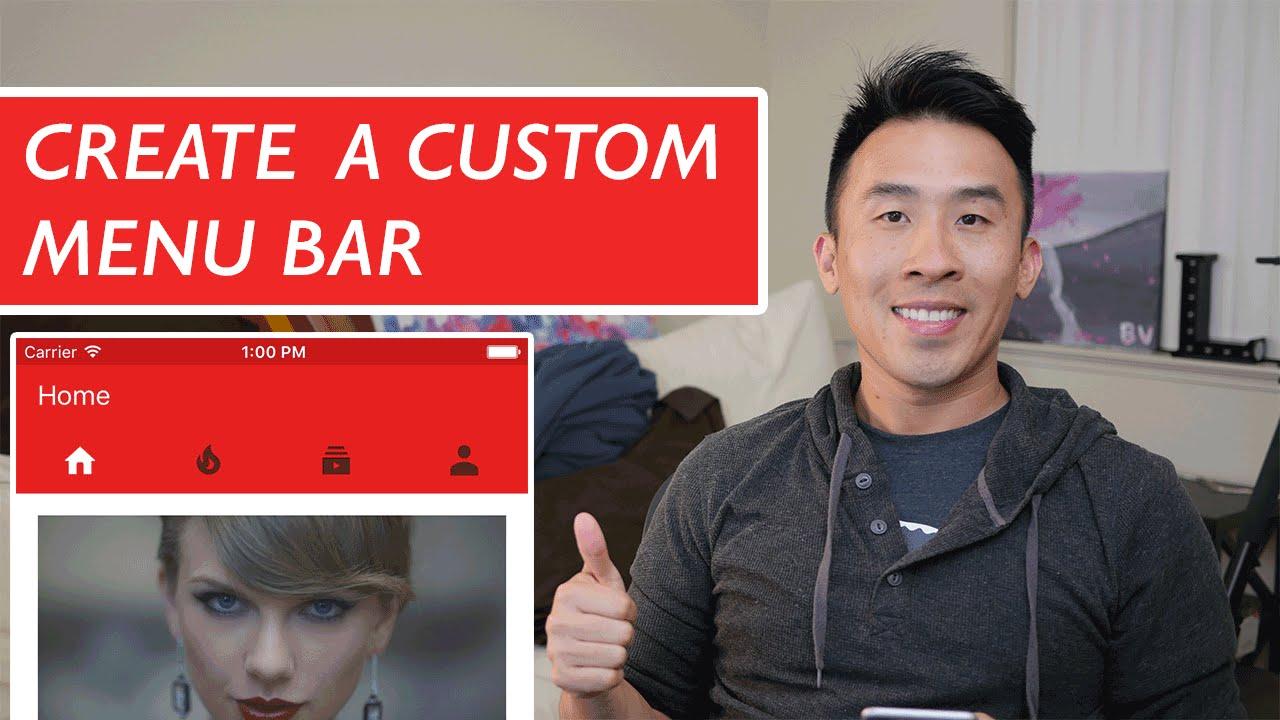 Swift: Youtube - Custom Tab Bar / Menu Bar using
