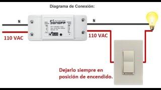 Sonoff - interruptor WiFi controlando apagador existente.