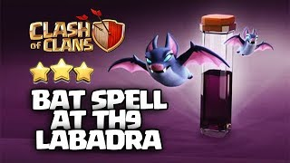 NEW Th9 BAT SPELL ATTACK - LaBaDra How to Clear Such Bases DragLaLoon | TH9 ATTACK STRATEGY COC