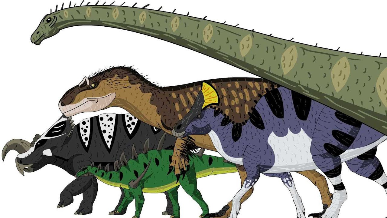 marching dinosaurs animated size comparison youtube