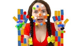 LEGO stuck to my mom face! Dad and girls play in lego. Pretend play Lego hands by Sasha and mom