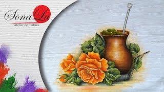 Cuia de Chimarrão com Rosa em Tecido – Pintura