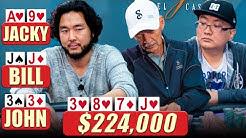 Flush vs Set vs Set in SUPER HIGH STAKES Poker $100/$100/$200/$400 ♠️ Live at the Bike!