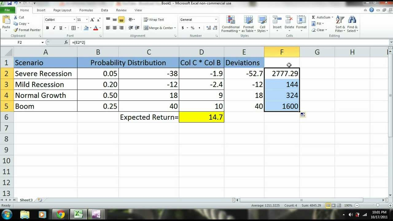 Excel 2010 Tutorial - Scenario Analysis of a Stock (Expected Return ...