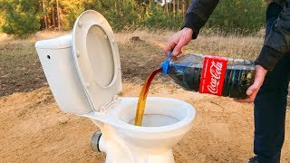 Reaction: Cola and Mentos inside the Toilet