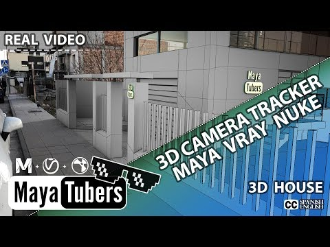 3D Camara Tracking con Nuke VFX y Maya + VRay Como Insertar un edificio 3D en un Video - MayaTubers
