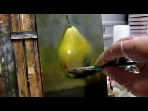 Grisaille painting tutorial Part II - Pear Still Life Demo oil painting