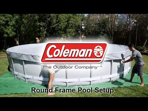 coleman round frame pool setup youtube