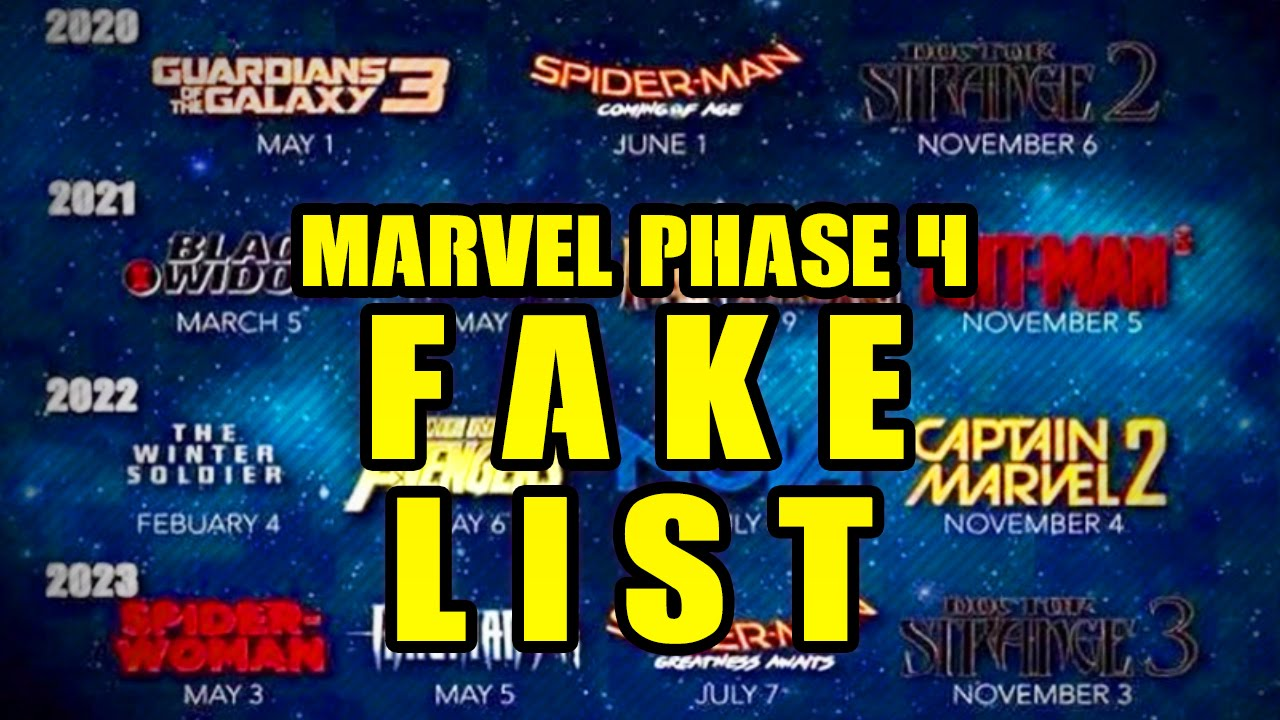 marvel phase 4 movie list fake! phase 4 movies not entirely