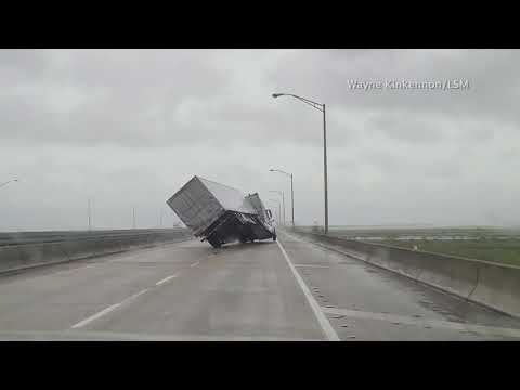 Wind from Hurricane Sally knocks over big rig on I-10 in Alabama