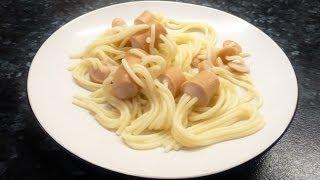 Макароны (спагетти) в сосисках или сосиски фаршированные.
