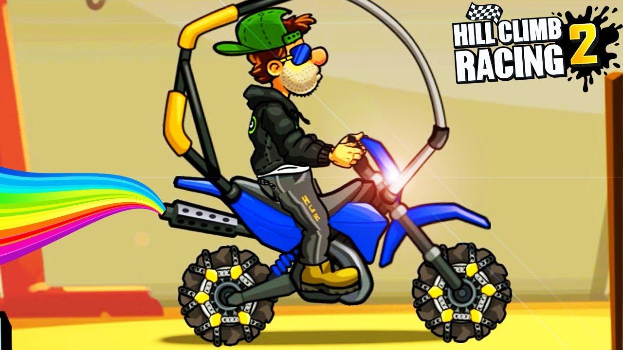 Веселое видео про гонки на машинах КУПИЛ КРУТОЙ МОТОЦИКЛ мультик про машинки Hill Climb Racing 2
