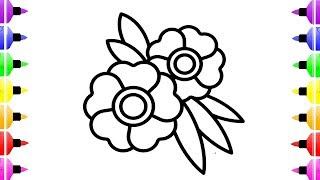 How to Draw  Flowers Coloring Pages For Kids   Learn The Colors for Kids   Drawing Flowers for kids