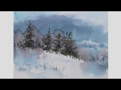 "Watercolor demo speed painting ""Winter Landscape"" by Ekaterina Gubina"