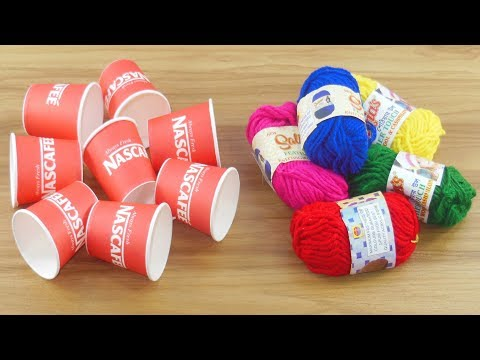 How To Reuse Disposable Coffee Cup With Color Woolen | DIY Craft For Home Deco