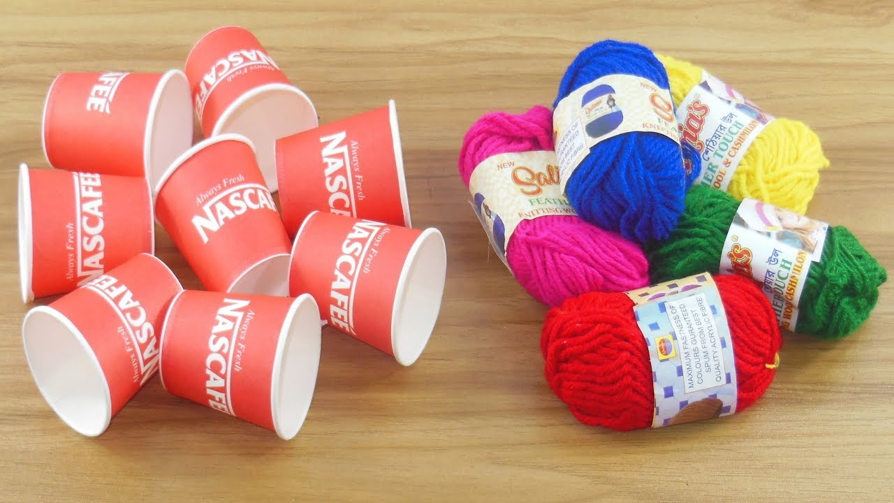 How to reuse Disposable coffee cup with color Woolen   DIY craft for Home  deco