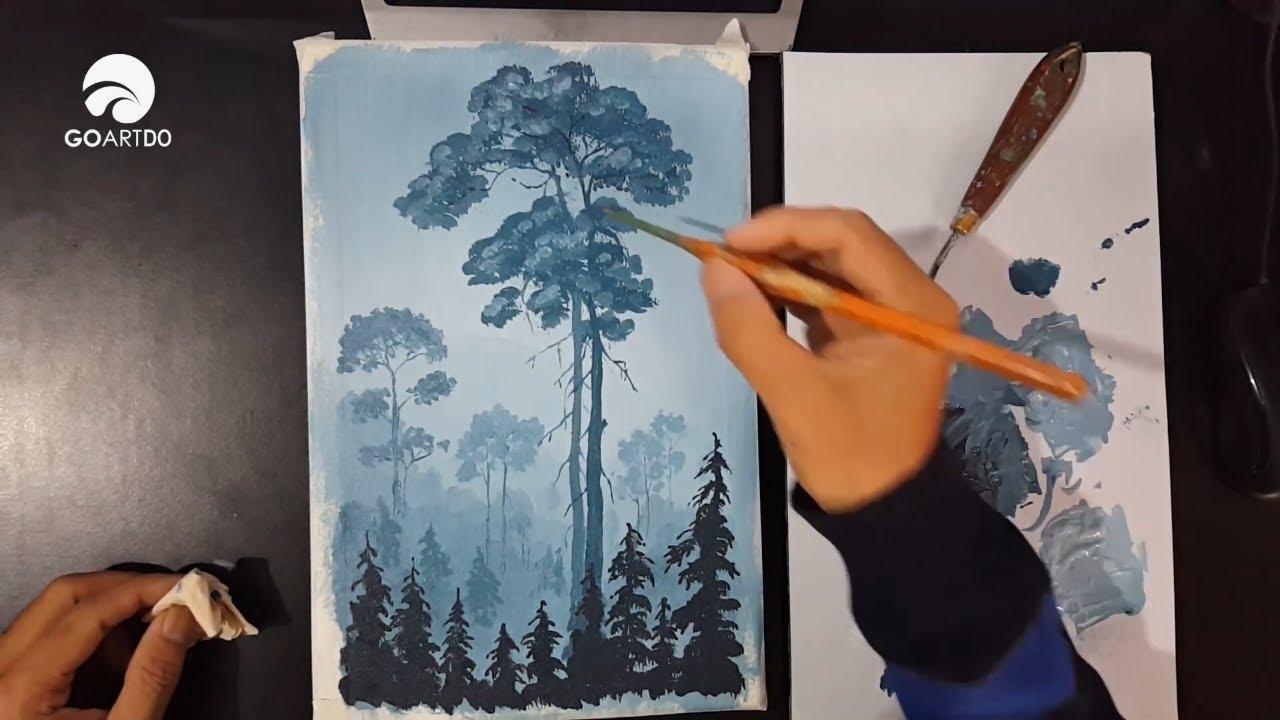 Vẽ tranh phong cảnh rừng cây trong sương mờ / step by step painting