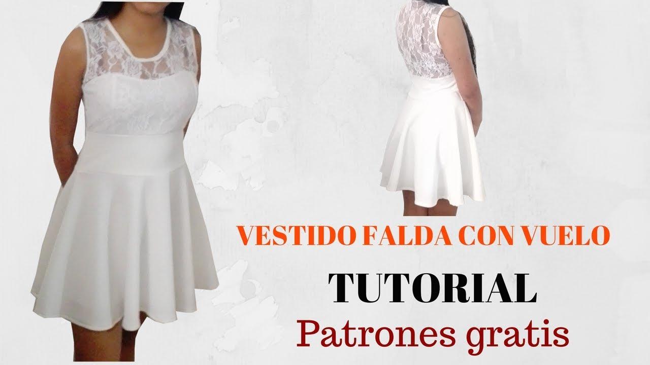 DIY Como hacer vestido de falda con vuelo corte y confección - YouTube