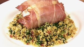 Proscuitto Wrapped Halibut W/ Spinach & Sundried Tomato Couscous |the Lighter Side