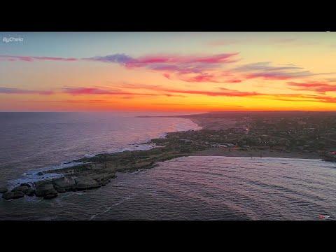 Sunset beach Punta del Diablo  beach 4k  Rocha