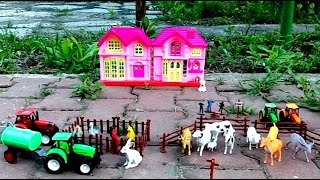Toys for kids. Toy farm. Video for kids with  animals and tractors