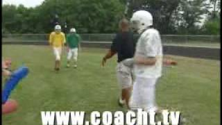 Football Drill: Linebacker Shed and Scrape drill