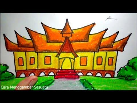 Cara Menggambar Rumah Adat Gadang Minangkabau Sumatera