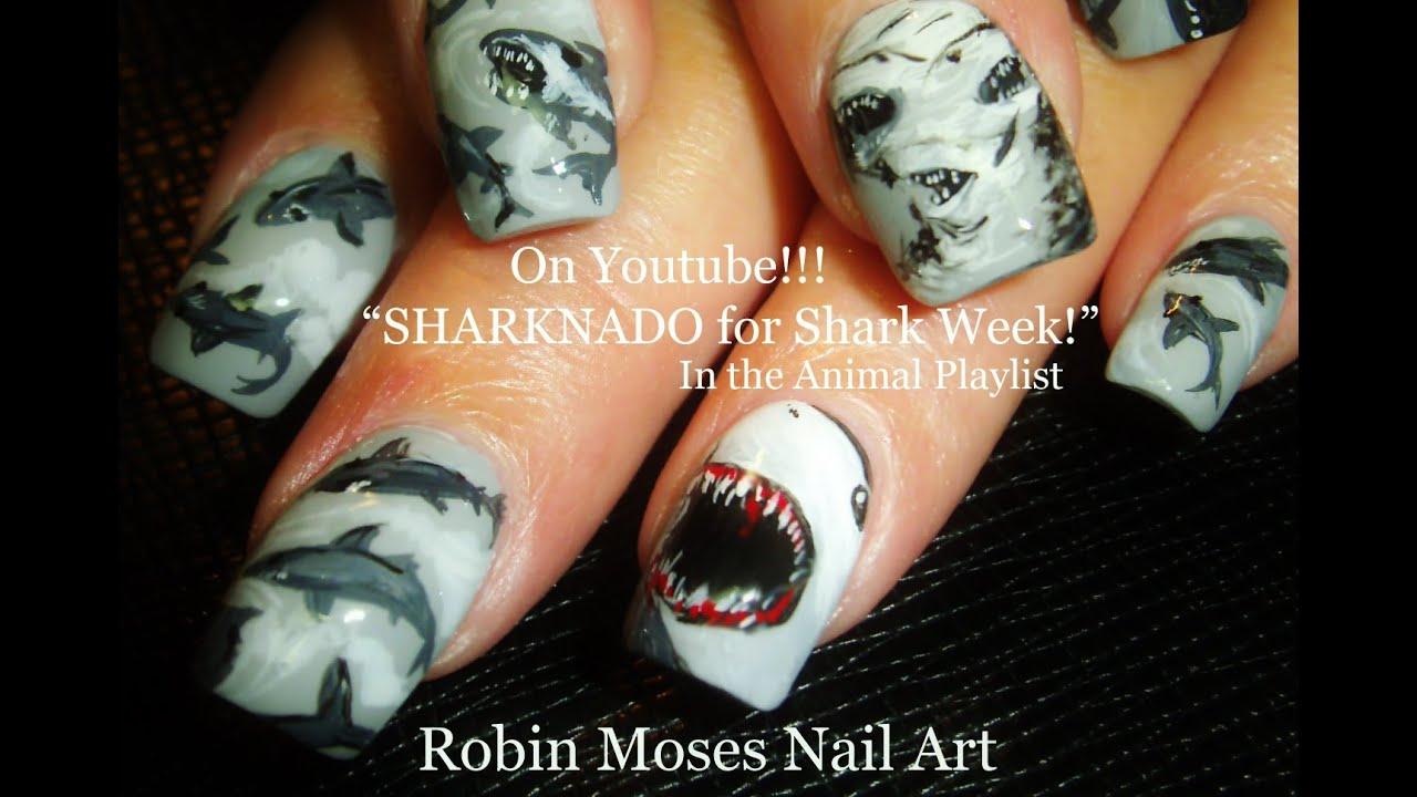 Shark Week Nails Sharks Nail Art Design Tutorial Youtube