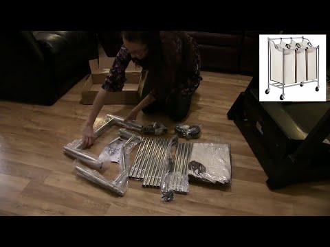 Assembly and Review - 3 Bag Rolling Laundry Sorter Cart  - S