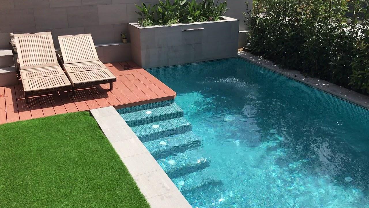 piscina de diseño con cascada cerca de barcelona - youtube