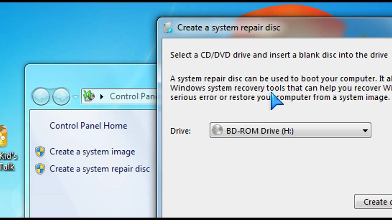 windows 7 home premium create system image on network drive