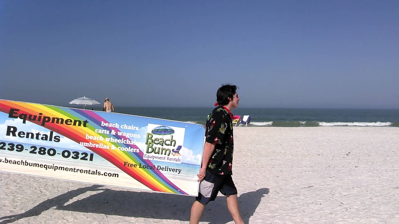 Moving billboard Beach chair and umbrella rentals on Marco Island