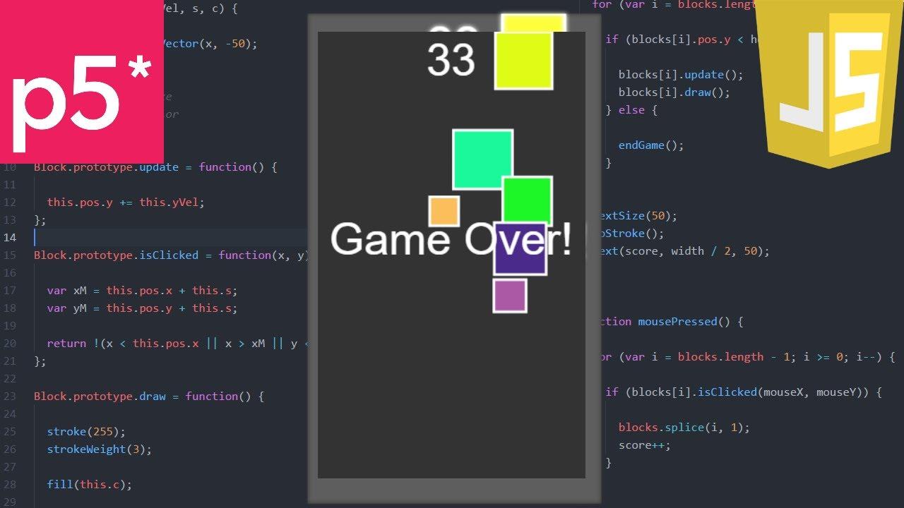 a game a day 21 javascript block rain  [ 1280 x 720 Pixel ]
