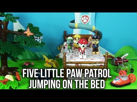 Five Little Paw Patrol Jumping on the Bed Nursery Rhyme | Chase Rocky Rubble Marshall Skye Ryder