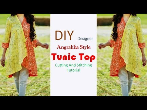 DIY Designer Angrakha Style Tunic Top Cutting And Stitching Tutorial