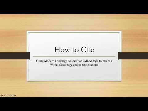 How To Cite: Using MLA Style To Create A Works Cited Page And In-text Citations.