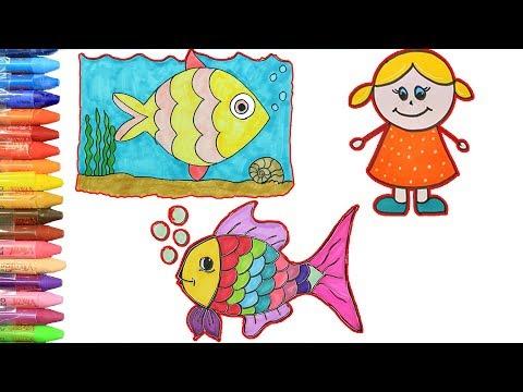 Balık 🐠Kız Çocuğu 👱♀️Balık Renklendirme | Çiz Ve Boya | Çizelim Boyayalım