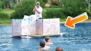 We Built a Cardboard BATTLESHIP! *on a lake*
