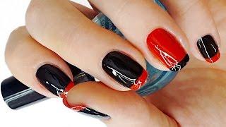 Черно-красный френч маникюр на коротких ногтях