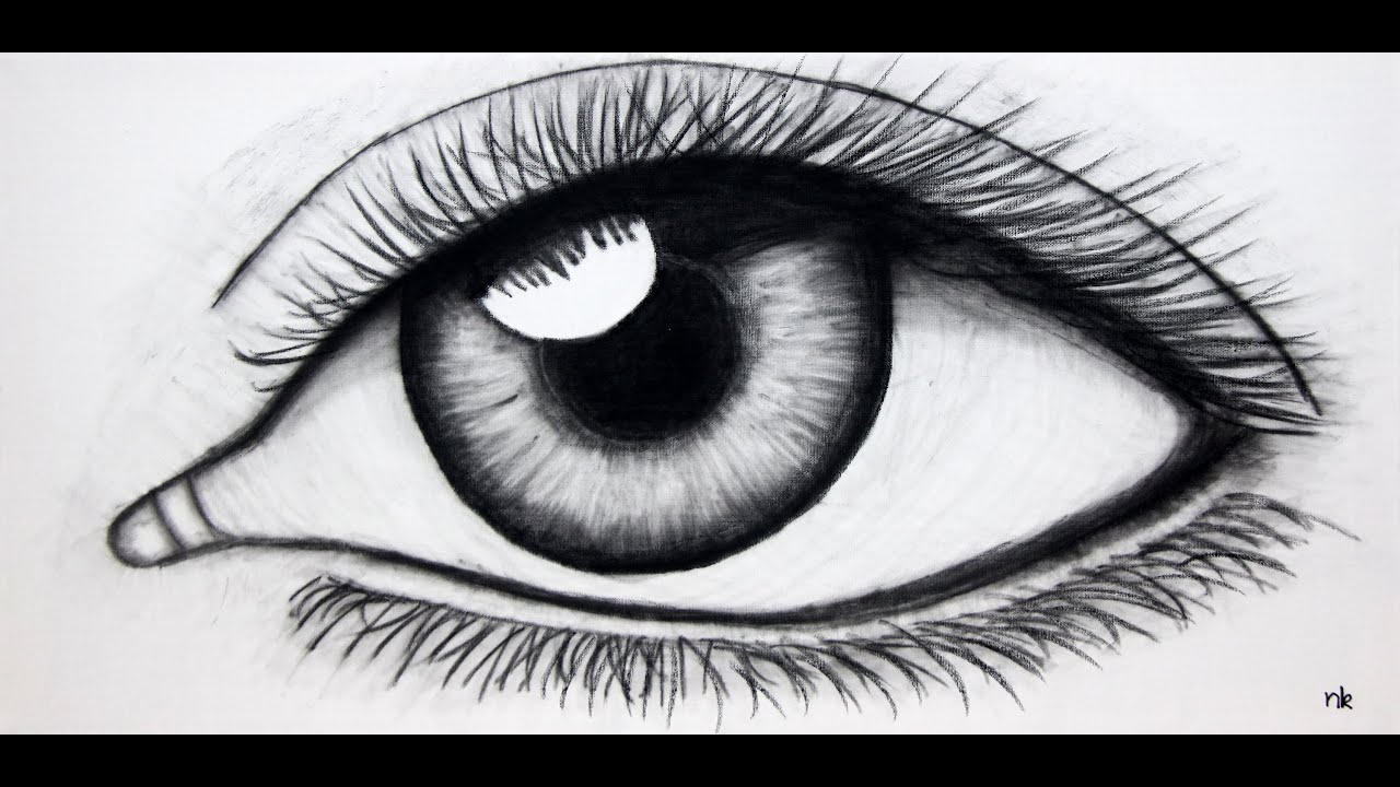 Speed Drawing - Eye in Charcoal on Canvas - YouTube