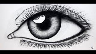 eye drawing charcoal canvas