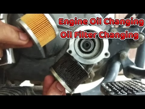 Bajaj Discover Engine oil changing & Oil filter replacement