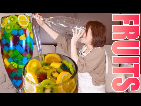 【MUKBANG】 Huge Jelly Fruit Punch! Cafe Soiree-Style Punch, Refreshing & Beautiful! [4kg][3500kcal] from YouTube · Duration:  10 minutes 28 seconds
