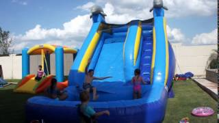 Inflatable Water Slide At A Party